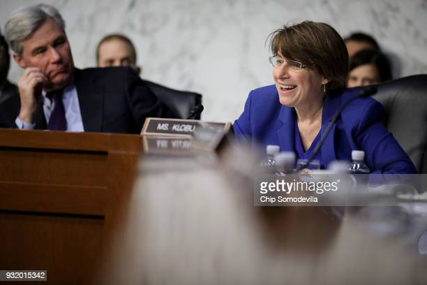 Senate Judiciary Committee member Amy Klobuchar questions witnesses during a hearing about the massacre at Marjory Stoneman Douglas High School in...
