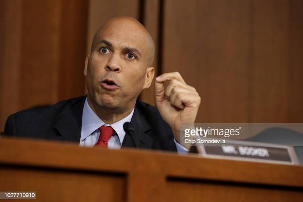 Senate Judiciary Committee member Cory Booker argues with Republican members of the committee during the third day of Supreme Court nominee Judge...