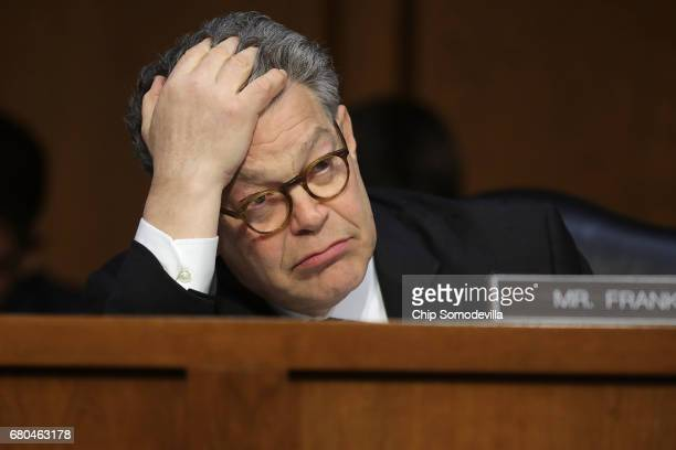 Senate Judicary Committee member Sen Al Franken listens to witnesses during a subcommittee hearing on Russian interference in the 2016 election in...