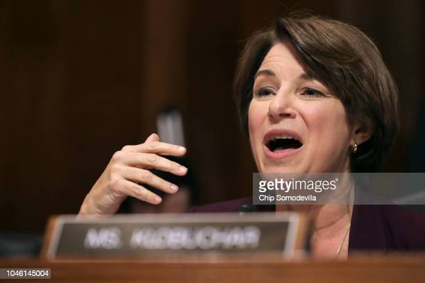 Senate Judiciary Committee member Sen Amy Klobuchar delivers remarks about Supreme Court nominee Judge Brett Kavanaugh during a mark up hearing in...