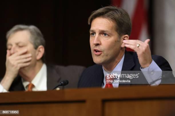 Senate Judiciary Committee member Sen Ben Sasse questions witnesses from Google Facebook and Twitter during a Crime and Terrorism Subcommittee...