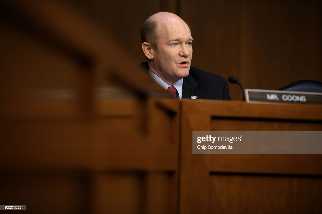 Senate Judiciary Committee member Sen. Chris Coons (D-DE) questions witnesses during a hearing about the massacre at Marjory Stoneman Douglas High School in the Hart Senate Office Building on Capitol Hill March 14, 2018 in Washington, DC. Acting Deputy Director of the Federal Bureau of Investigation David Bowdich testified that the FBI could have and should have done more to stop the school shooter Nikolas Cruz after it receieved several tips about him.