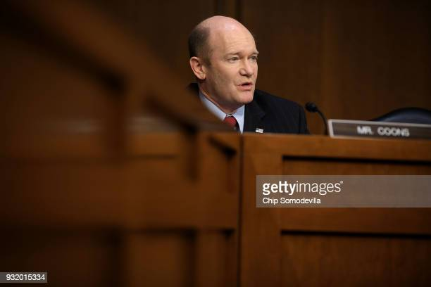 Senate Judiciary Committee member Sen Chris Coons questions witnesses during a hearing about the massacre at Marjory Stoneman Douglas High School in...