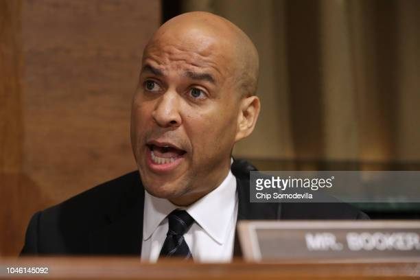 Senate Judiciary Committee member Sen Cory Booker delivers remarks about Supreme Court nominee Judge Brett Kavanaugh during a mark up hearing in the...