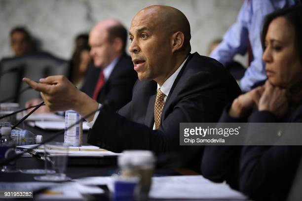 Senate Judiciary Committee member Sen Cory Booker questions witnesses during a hearing about the massacre at Marjory Stoneman Douglas High School in...