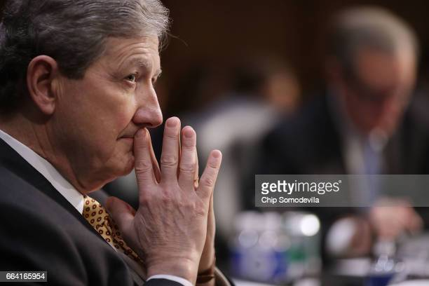 Senate Judiciary Committee member Sen John Kennedy participates an executive business meeting to debate and vote on Supreme Court nominee Judge Neil...