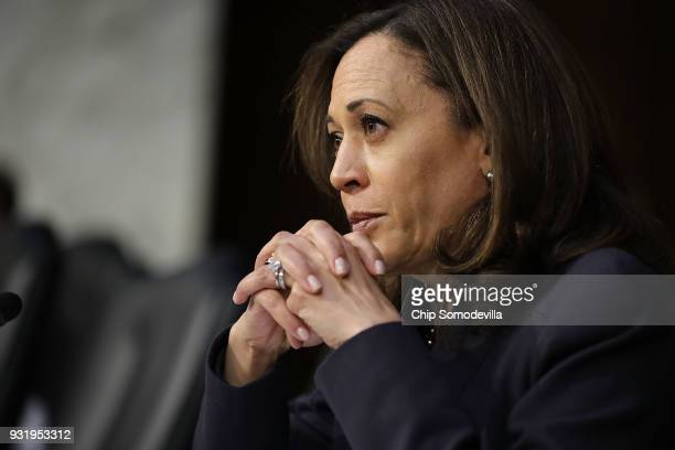 Senate Judiciary Committee member Sen Kamala Harris listens to witnesses during a hearing about the massacre at Marjory Stoneman Douglas High School...