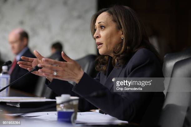 Senate Judiciary Committee member Sen Kamala Harris questions witnesses during a hearing about the massacre at Marjory Stoneman Douglas High School...