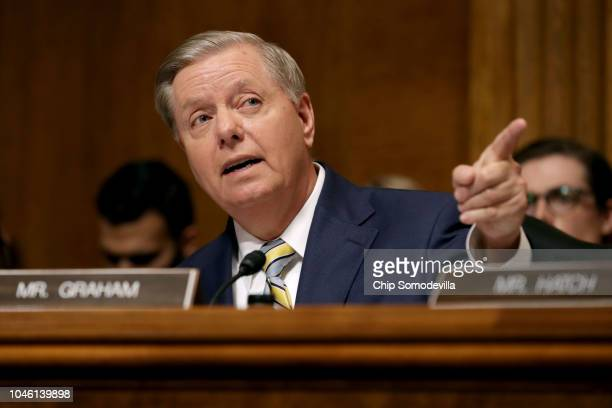 Senate Judiciary Committee member Sen Lindsey Graham delivers remarks about Supreme Court nominee Judge Brett Kavanaugh during a mark up hearing in...