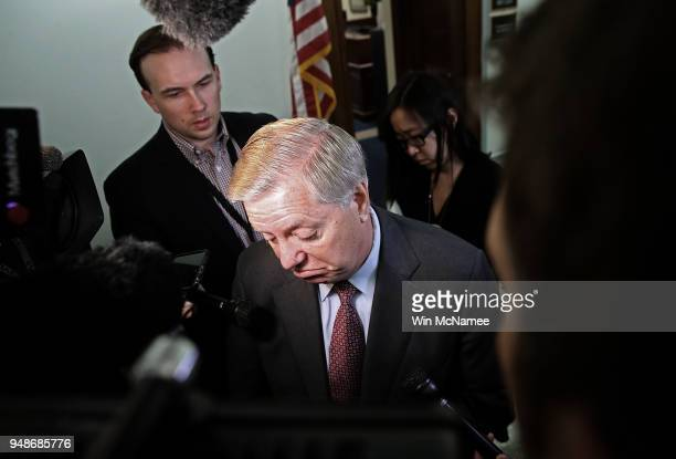 Senate Judiciary Committee member Sen Lindsey Graham speaks with reporters outside a Judiciary Committee hearing April 19 2018 in Washington DC In...