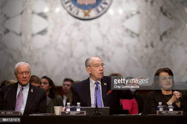 Senate Judiciary Committee member Sen Orrin Hatch Chairman Charles Grassley and ranking member Sen Dianne Feinstein participate in an executive...