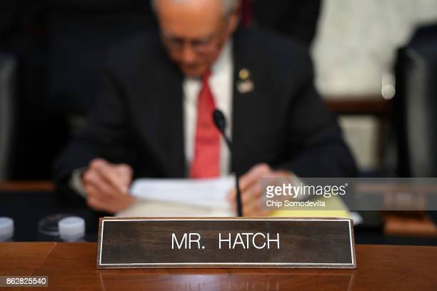 Senate Judiciary Committee member Sen Orrin Hatch prepares to question US Attorney General Jeff Sessions before a hearing in the Hart Senate Office...