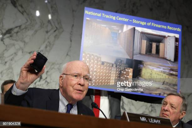Senate Judiciary Committee member Sen Patrick Leahy talks about the National Tracing Center's mandated storage of firearms records on paper and not...