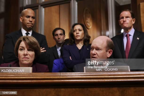 Senate Judiciary Committee members Sen Amy Klobuchar Sen Cory Booker Sen Kamala Harris Sen Chris Coons and Sen Richard Blumenthal debate the...