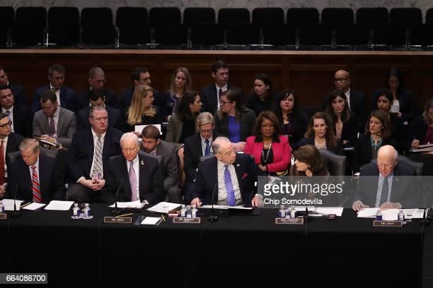 Senate Judiciary Committee members Sen. Lindsey Graham , Sen. Orrin Hatch , Chairman Charles Grassley , ranking member Sen. Dianne Feinstein and Sen....