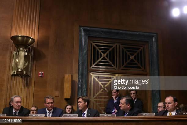 Senate Judiciary Committee members Sen Mike Crapo Sen Jeff Flake Sen Ben Sasse Sen Ted Cruz and Sen Mike Lee debate the confirmation of Supreme Court...
