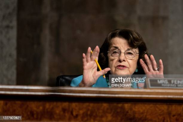 Senate Judiciary Committee Ranking Member Dianne Feinstein speaks during a Senate Judiciary Committee oversight hearing on Capitol Hill in...