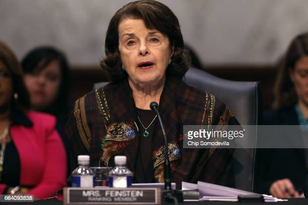 Senate Judiciary Committee ranking member Sen Dianne Feinstein delivers an opening statement during an executive business meeting to debate and vote...
