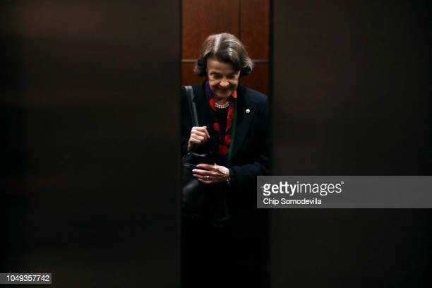 Senate Judiciary Committee ranking member Sen Dianne Feinstein heads for a secure meeting space inside the US Capitol Visitors Center so to review...