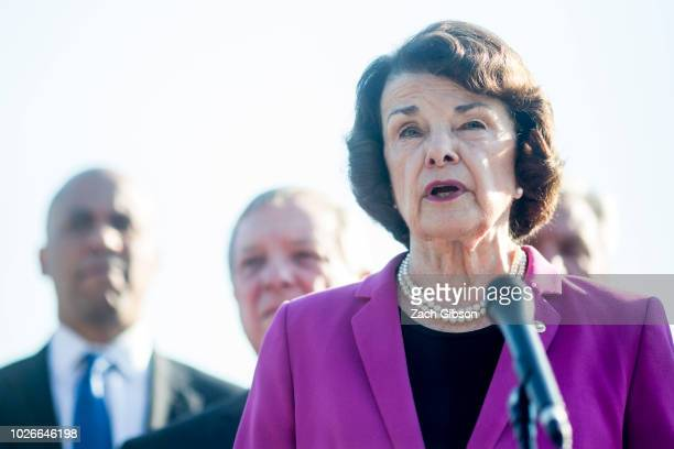 Senate Judiciary Committee Ranking Member Senator Dianne Feinstein speaks during a news conference denouncing the White House's withholding of...