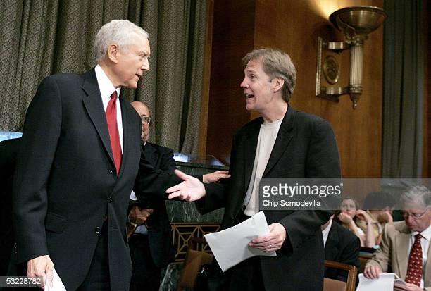 Senate Judiciary Committee Subcommittee on Intellectual Property Chairman Sen Orrin Hatch talks with Rick Carnes president of the Songwriters' Guild...