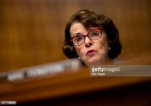 Senate Judiciary member Sen Sen Dianne Feinstein questions Director of the Federal Bureau of Investigation James Comey during an oversight hearing on...