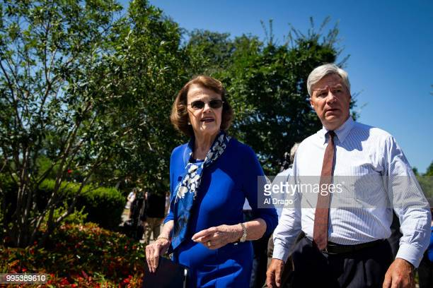 Senate Judiciary ranking member Dianne Feinstein and Sen Sheldon Whitehouse arrive for a news conference to 'save women's reproductive rights and...