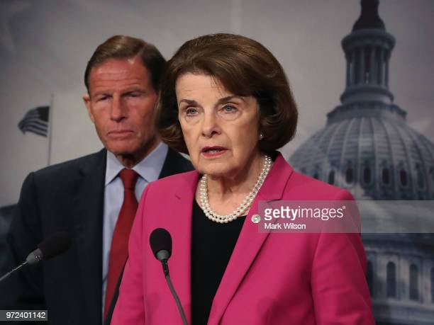 Senate Judiciary ranking member Dianne Feinstein is flanked by Sen Richard Blumenthal while speaking about the Keep Families Together Act which aims...