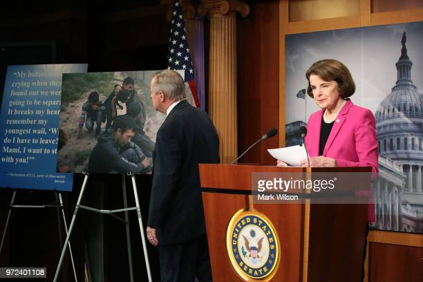Senate Judiciary ranking member Dianne Feinstein is flanked by Senate Minority Whip Dick Durbin while speaking about the Keep Families Together Act...