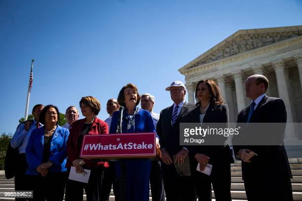 Senate Judiciary ranking member Dianne Feinstein speaks with Senate Democrats during a news conference to 'save women's reproductive rights and...