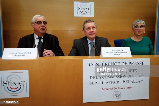 Senate Law Commission rapporteurs JeanPierre Sueur Muriel Jourda and President of France's Senate Law Commission Philippe Bas release on February 20...