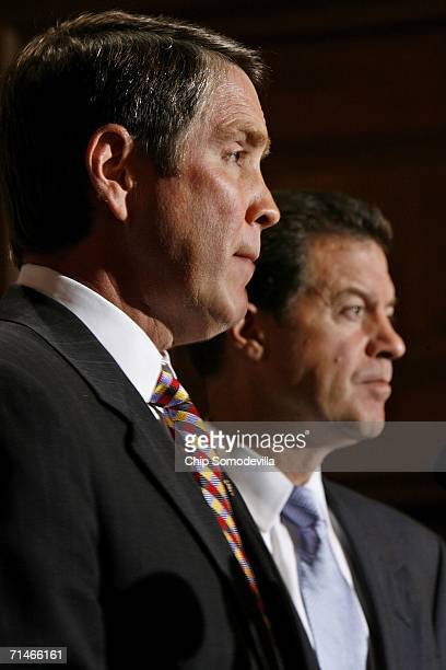Senate Majority Leader Bill Frist and Sen. Sam Brownback hold a news conference in the run up to a series of U.S. Senate votes on stem cell research...