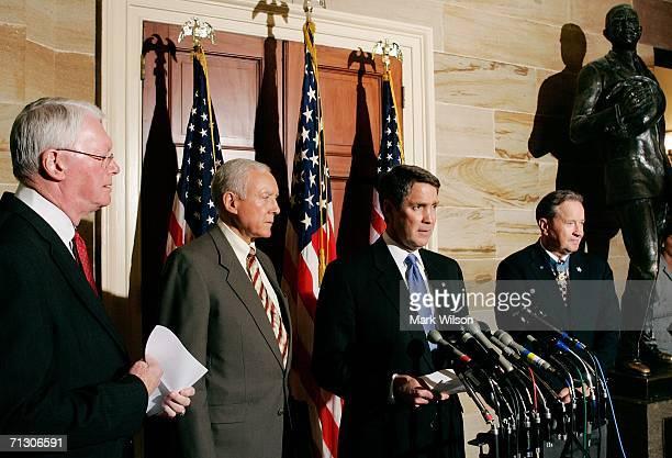 Senate Majority Leader Bill Frist speaks about the flag protection admendment as US Sen Orrin Hatch US Sen Jim Bunning and Patrick Brady chairman of...