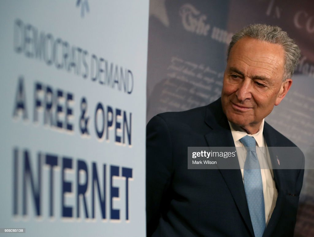 Senate Majority Leader Charles Schumer (D-NY) attends a press conference at the Capitol Building on May 16, 2018 in Washington, DC. The Senate voted and passed a Resolution of Disapproval to undo President Trump and FCC Chairman Ajit Pai's repeal of net neutrality rules.