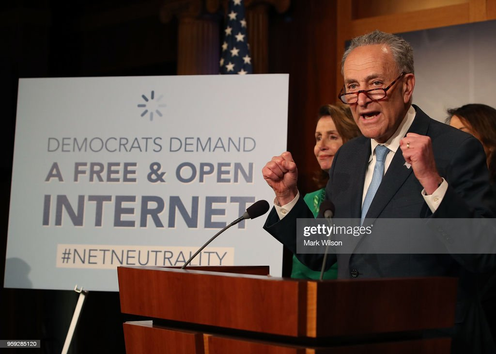 Senate Majority Leader Charles Schumer (D-NY) speaks at a press conference at the Capitol Building on May 16, 2018 in Washington, DC. The Senate voted and passed a Resolution of Disapproval to undo President Trump and FCC Chairman Ajit Pai's repeal of net neutrality rules.