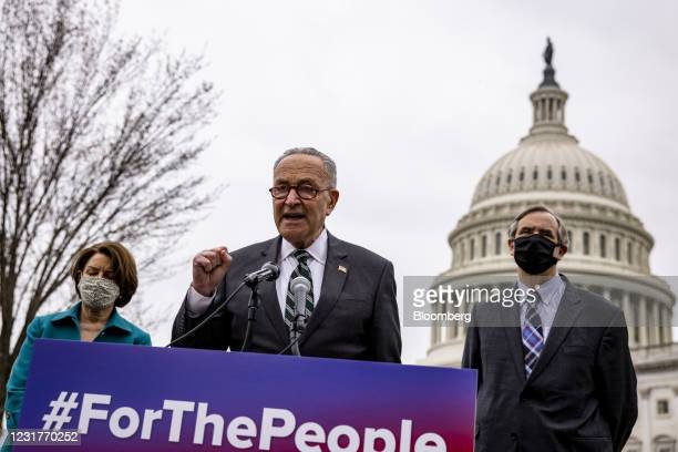 Senate Majority Leader Chuck Schumer, a Democrat from New York, speaks during a news conference in Washington, D.C., U.S., on Tuesday, March 17,...