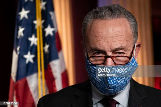 Senate Majority Leader Chuck Schumer attends a press conference after a meeting with Senate Democrats at the U.S. Capitol on February 2, 2021 in...