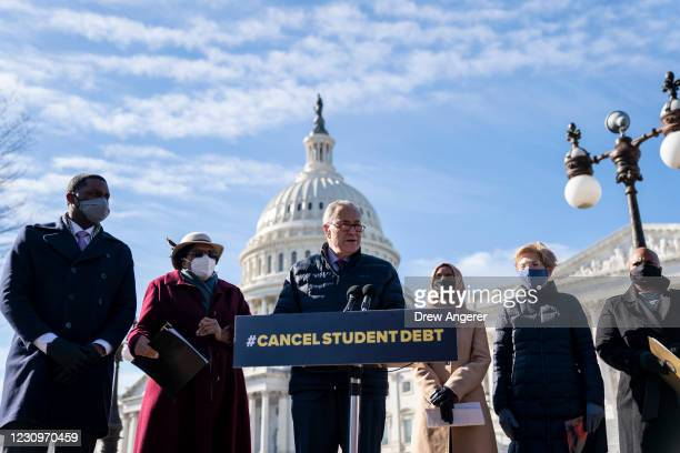 Senate Majority Leader Chuck Schumer speaks during a press conference about student debt outside the U.S. Capitol on February 4, 2021 in Washington,...