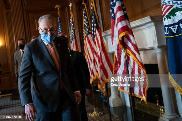 Senate Majority Leader Chuck Schumer speaks to reporters during a brief press availability with new Democratic Senators at the U.S. Capitol on...