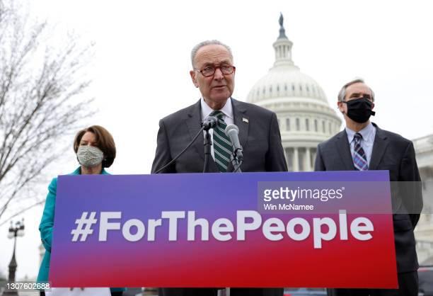 Senate Majority Leader Chuck Schumer , U.S. Senator Jeff Merkley and Sen. Amy Klobuchar announce the introduction of S.1., the 'For the People' Act,...