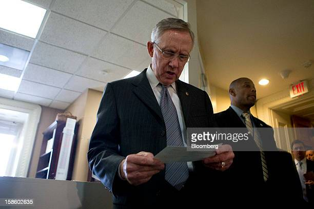 Senate Majority Leader Harry Reid a Democrat from Nevada arrives to a news conference in Washington DC US on Thursday Dec 20 2012 House Republicans...