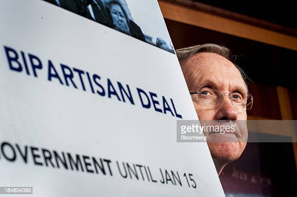 Senate Majority Leader Harry Reid a Democrat from Nevada attends a news conference at the US Capitol in Washington DC US on Wednesday Oct 16 2013 The...