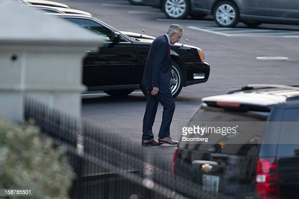 Senate Majority Leader Harry Reid a Democrat from Nevada leaves after a meeting with US President Barack Obama at the White House in Washington DC US...
