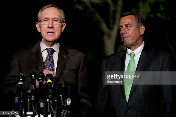 Senate Majority Leader Harry Reid a Democrat from Nevada left and House Speaker John Boehner a Republican from Ohio speak to reporters outside of the...