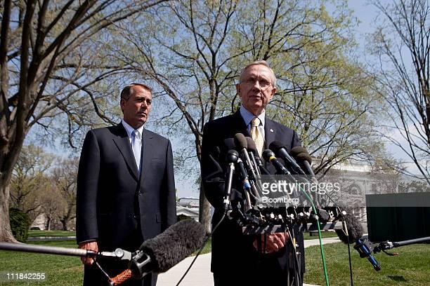 Senate Majority Leader Harry Reid a Democrat from Nevada right and House Speaker John Boehner a Republican from Ohio speak outside the White House...
