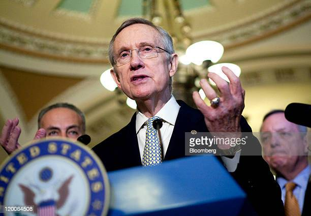 Senate Majority Leader Harry Reid a Democrat from Nevada speaks during a news conference with fellow Democratic senators Charles Schumer of New York...