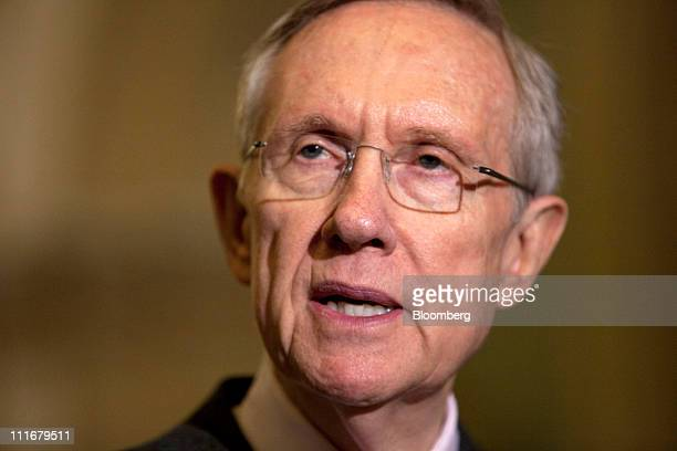 Senate Majority Leader Harry Reid a Democrat from Nevada speaks at a news conference at the Capitol in Washington DC US on Tuesday April 5 2011...