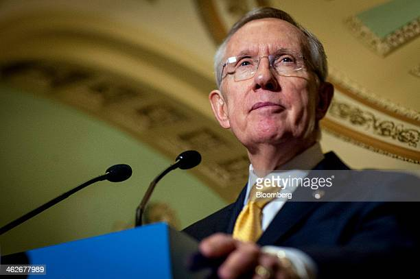 Senate Majority Leader Harry Reid a Democrat from Nevada speaks to reporters during a news conference following the weekly Democratic Policy Luncheon...
