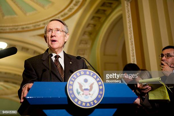 Senate Majority Leader Harry Reid, a Democrat from Nevada, speaks to the media following the Senate policy lunches in Washington, D.C., U.S., on...