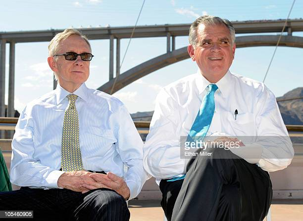 S Senate Majority Leader Harry Reid and US Transportation Secretary Ray LaHood attend the dedication of the Mike O'CallaghanPat Tillman Memorial...